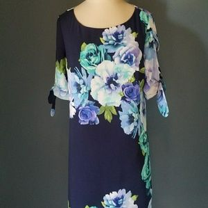 Eliza J floral shift dress blue purple